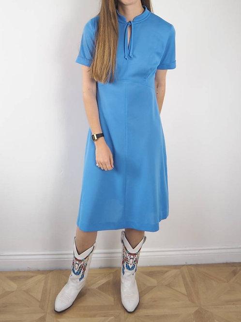 Vintage Blue Crimp Dress - 12-14UK
