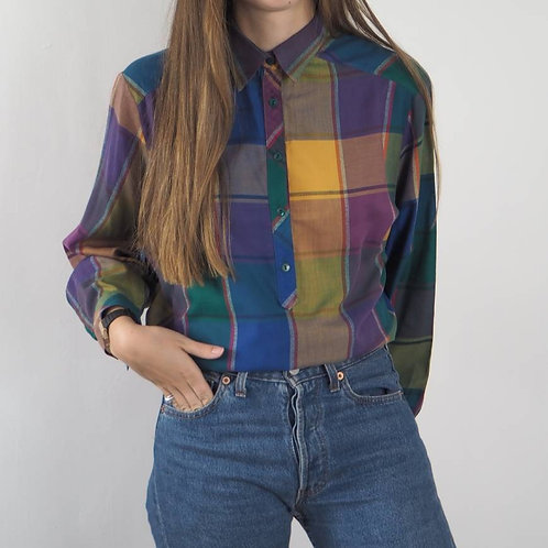 Vintage Multi Checked Button Shirt - 16UK