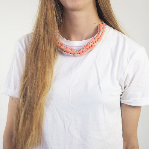 Hand Knitted Coral and grey necklace