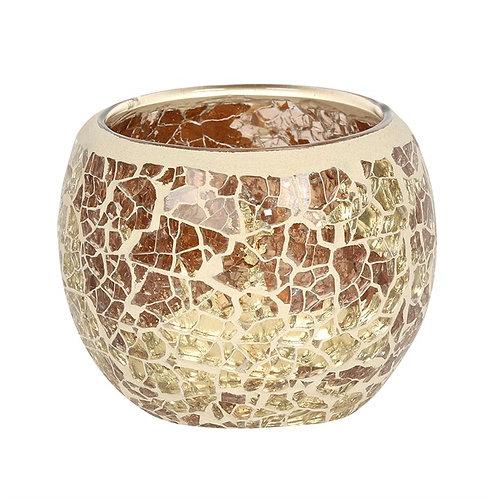 Gold Crackle Tea Light Holder