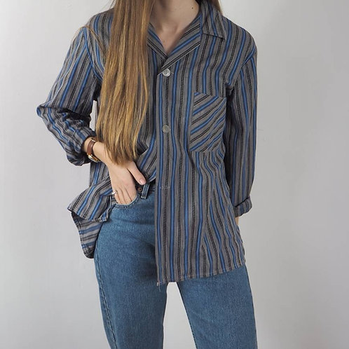 Vintage Blue Grey Stripe PJ Shirt - M
