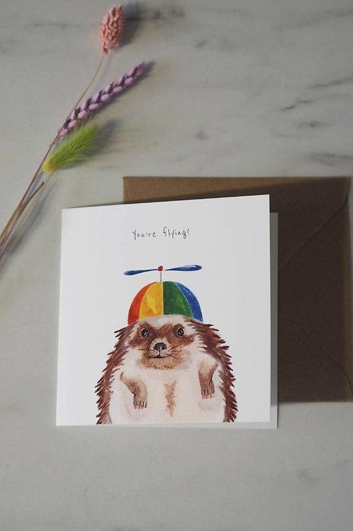 Hedgehog With Propeller Hat Card