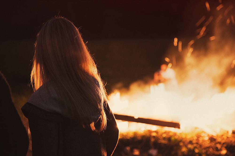 Girl and Bonfire