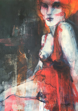 Lady in red 80x110