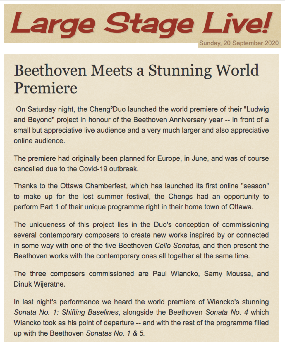 Beethoven Meets a Stunning World Premiere