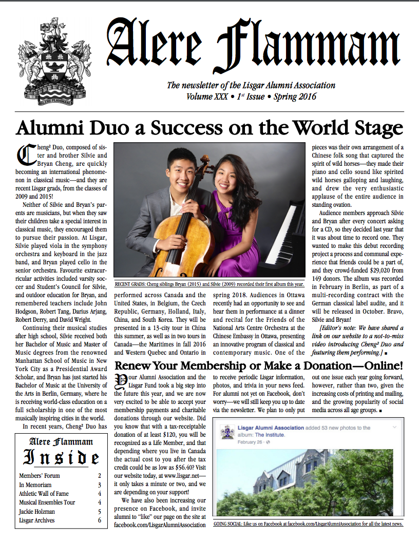 Alumni Duo a Success on World Stage