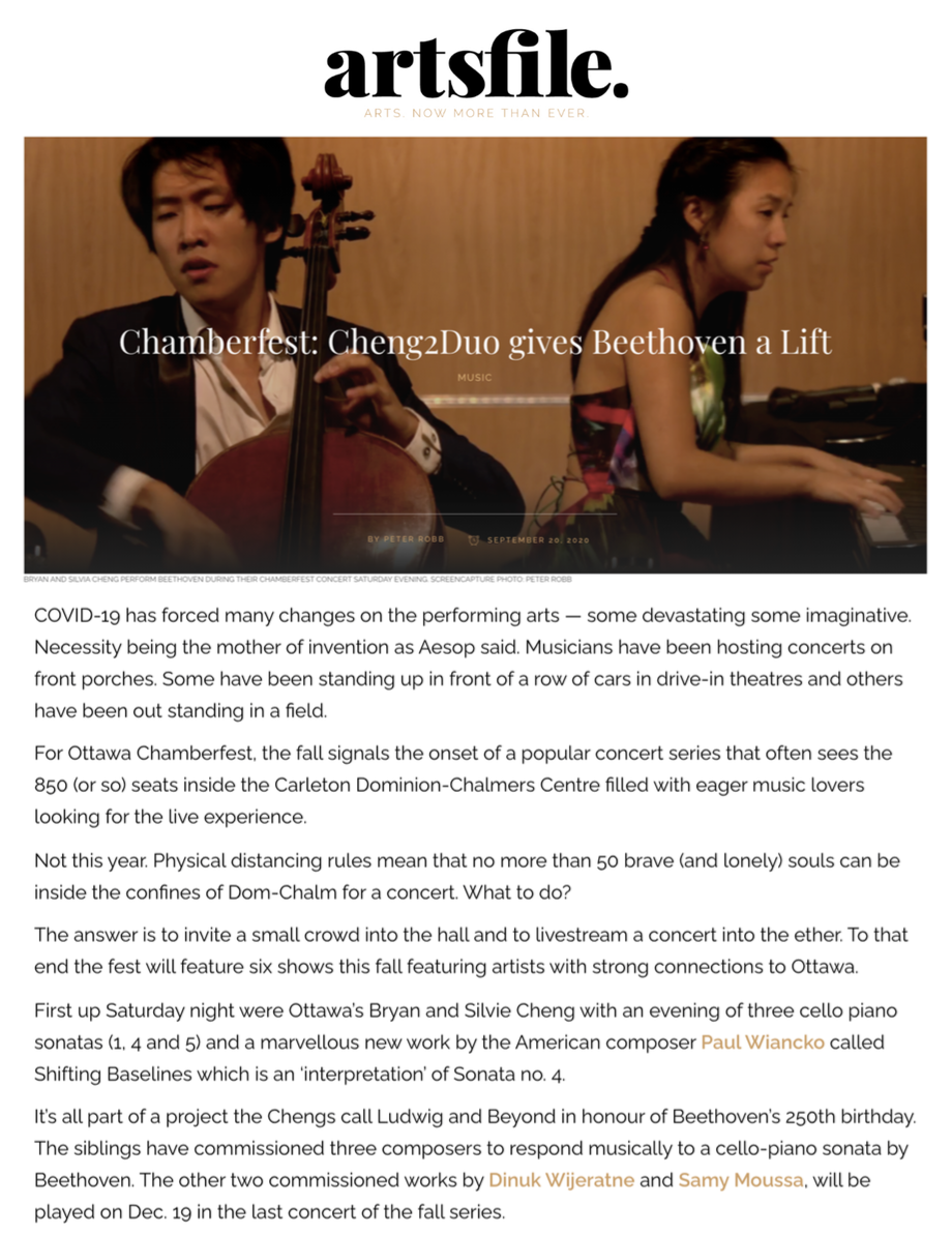 Chamberfest: Cheng² Duo gives Beethoven a Lift