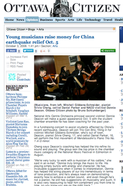 Young musicians raise $ for China