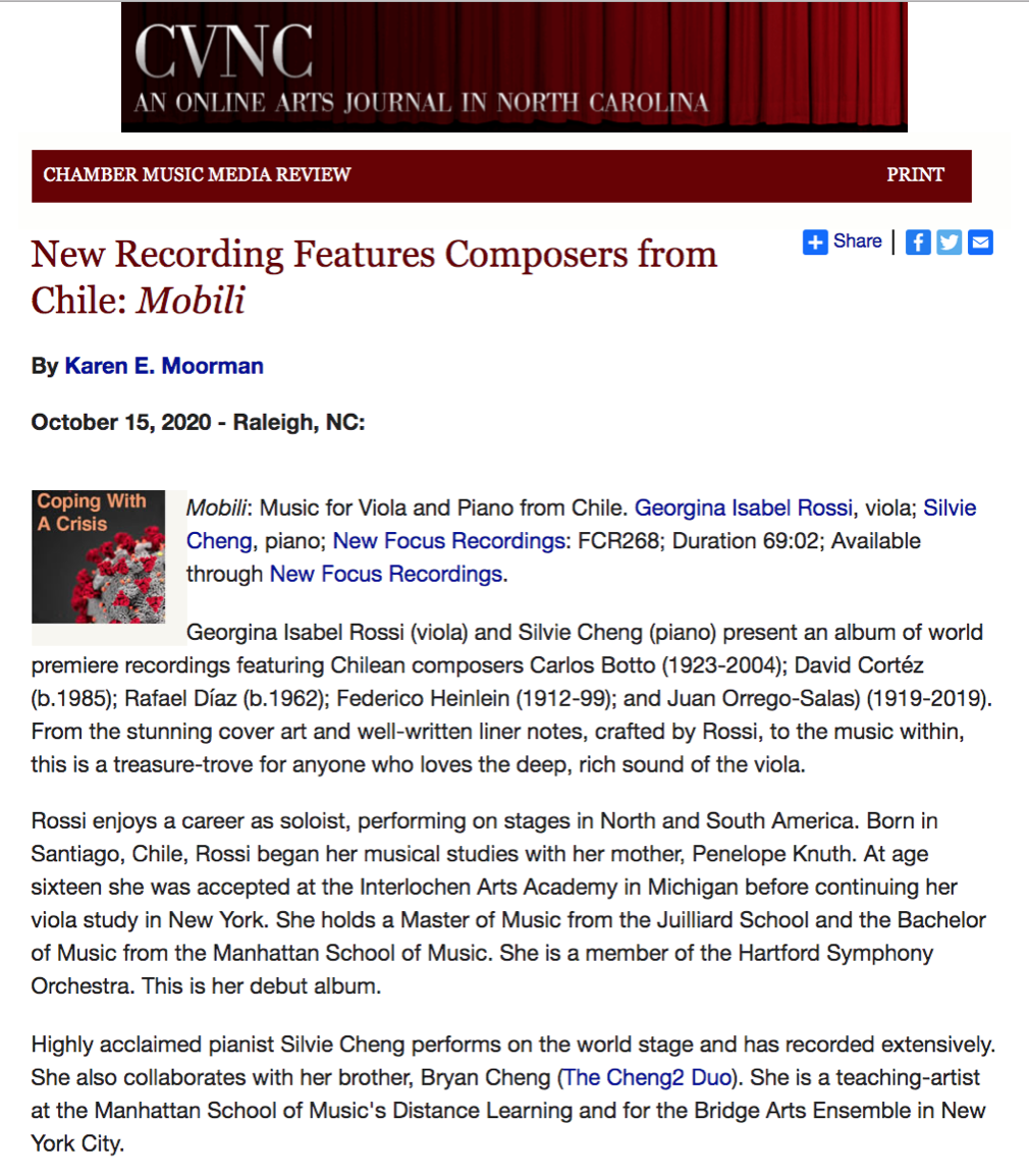 New Recording Features Composers from Chile: Mobili