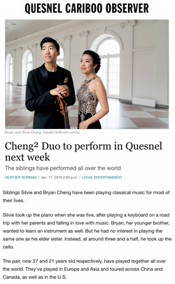 Cheng² Duo to perform in Quesnel