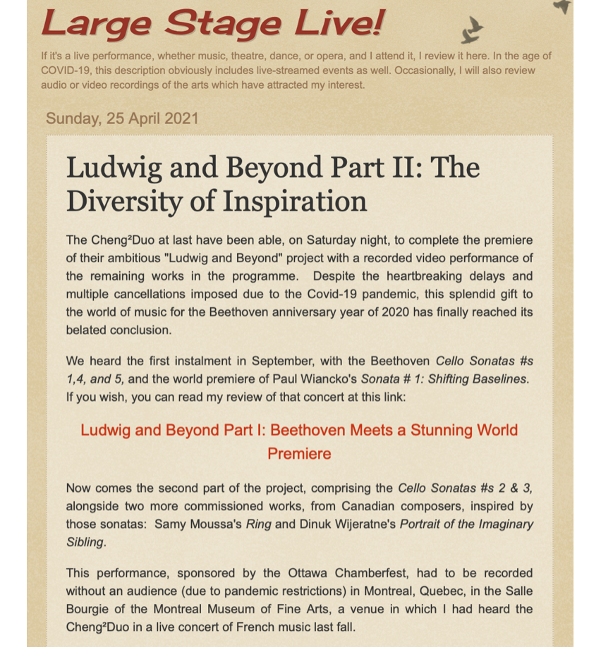 Ludwig and Beyond Part II: The Diversity of Inspiration