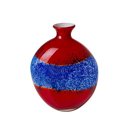 COLOURED GLASS VASE BLUE RED