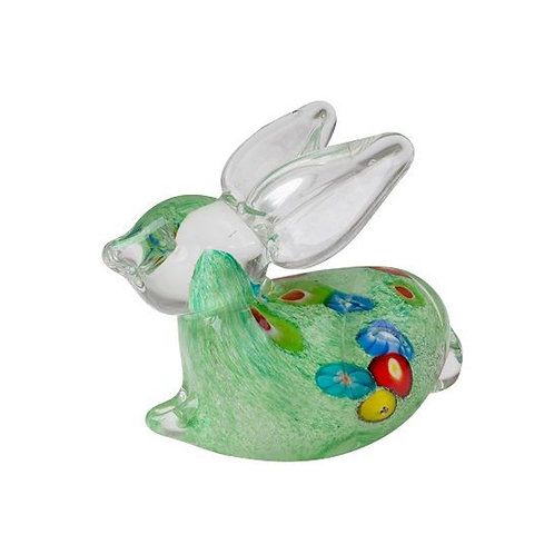 COLOURED GLASS GREEN RABBIT