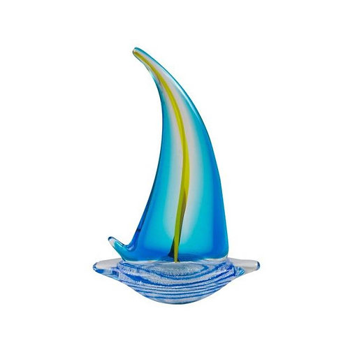 COLOURED GLASS BOAT 1 SAIL