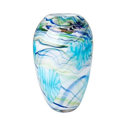 COLOURED GLASS VASE BLUE GREEN GLITTER