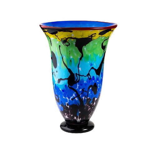 COLOURED GLASS VASE HOCKNEY RAINBOW