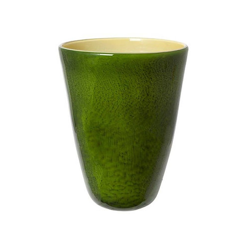 COLOURED GLASS VASE GREEN YELLOW