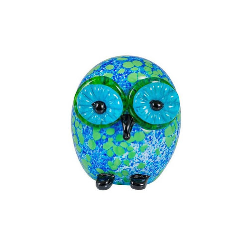 COLOURED GLASS OWL BLUE GREEN
