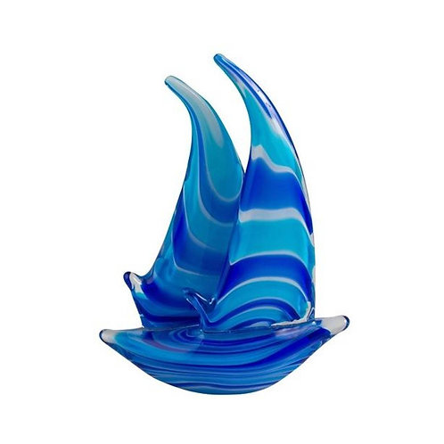 COLOURED GLASS BOAT 2 SAIL