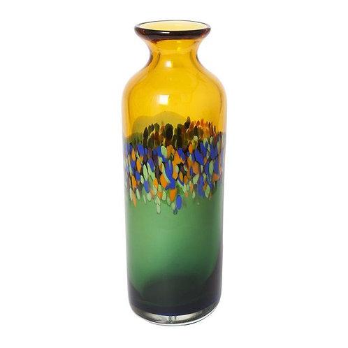 COLOURED GLASS VASE - YELLOW GREEN ART DECO