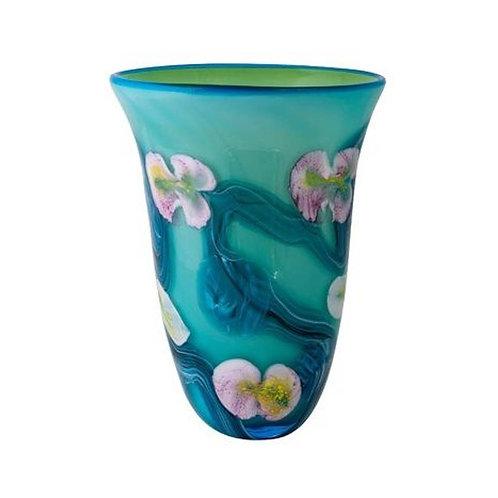 COLOURED GLASS VASE FLOWERS BLUE GREEN