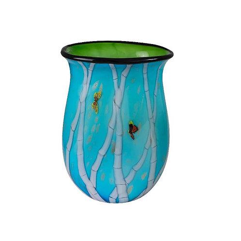 COLOURED GLASS VASE BLUE BAMBOO DESIGN