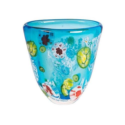 COLOURED GLASS VASE BLUE