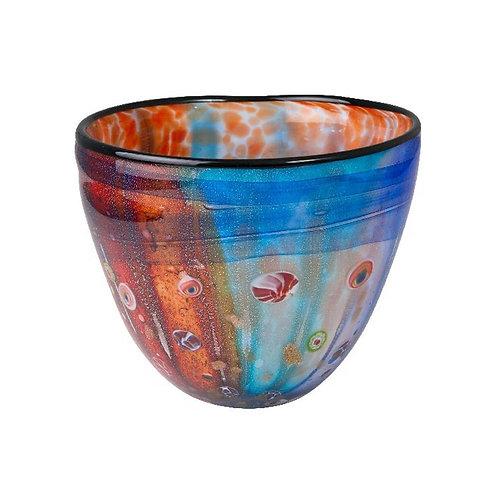 COLOURED GLASS VASE - ART DECO RED BLUE GOLD