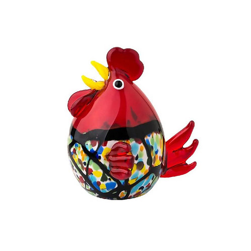 COLOURED GLASS CHICKEN RED