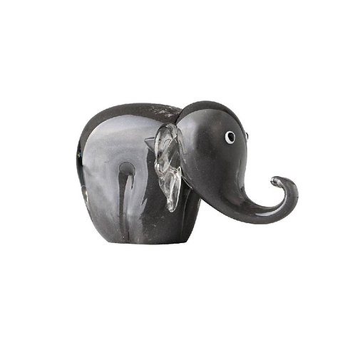 COLOURED GLASS GREY ELEPHANT