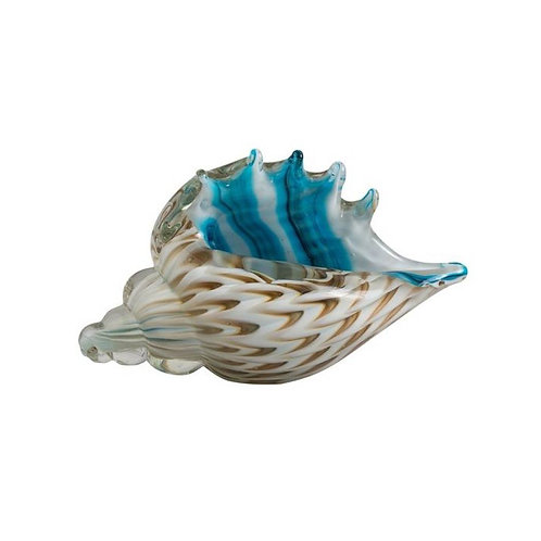 COLOURED GLASS SHELL CLEAR BLUE