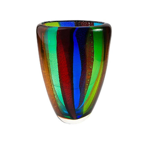 COLOURED GLASS VASE BLUE RED YELLOW