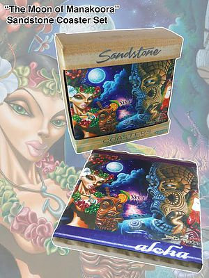 The Moon of Manakoora Sandstone Coaster Set