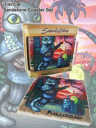Tiki Cat Sandstone Coaster Set