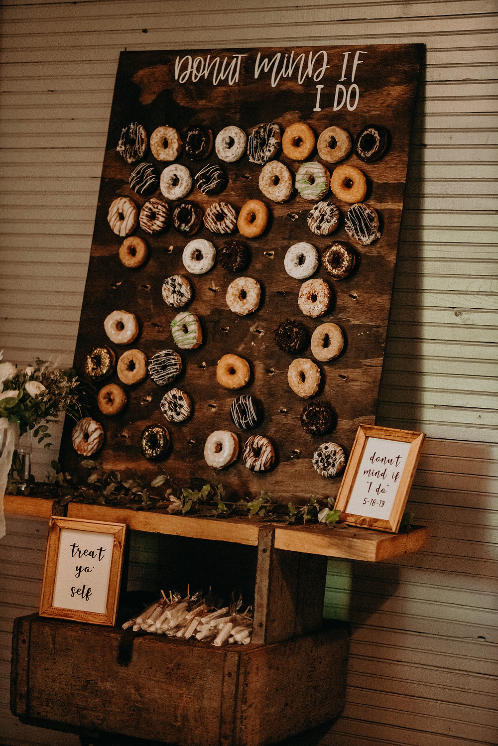 Donuts decoration at wedding reception at Cherry Hollow Farm, GA