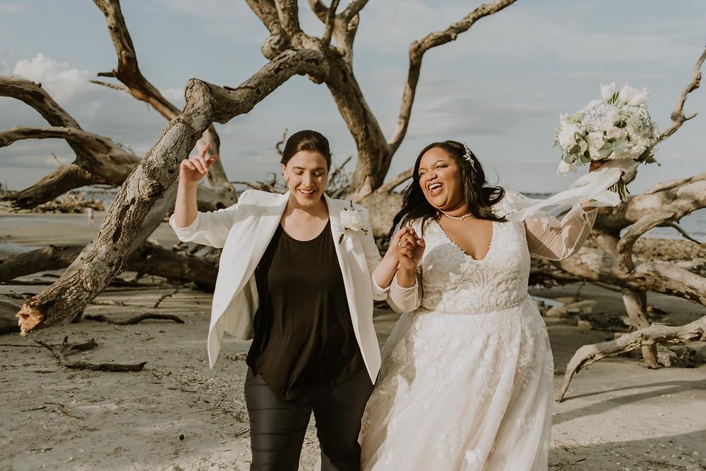 Lesbian wedding at the beach
