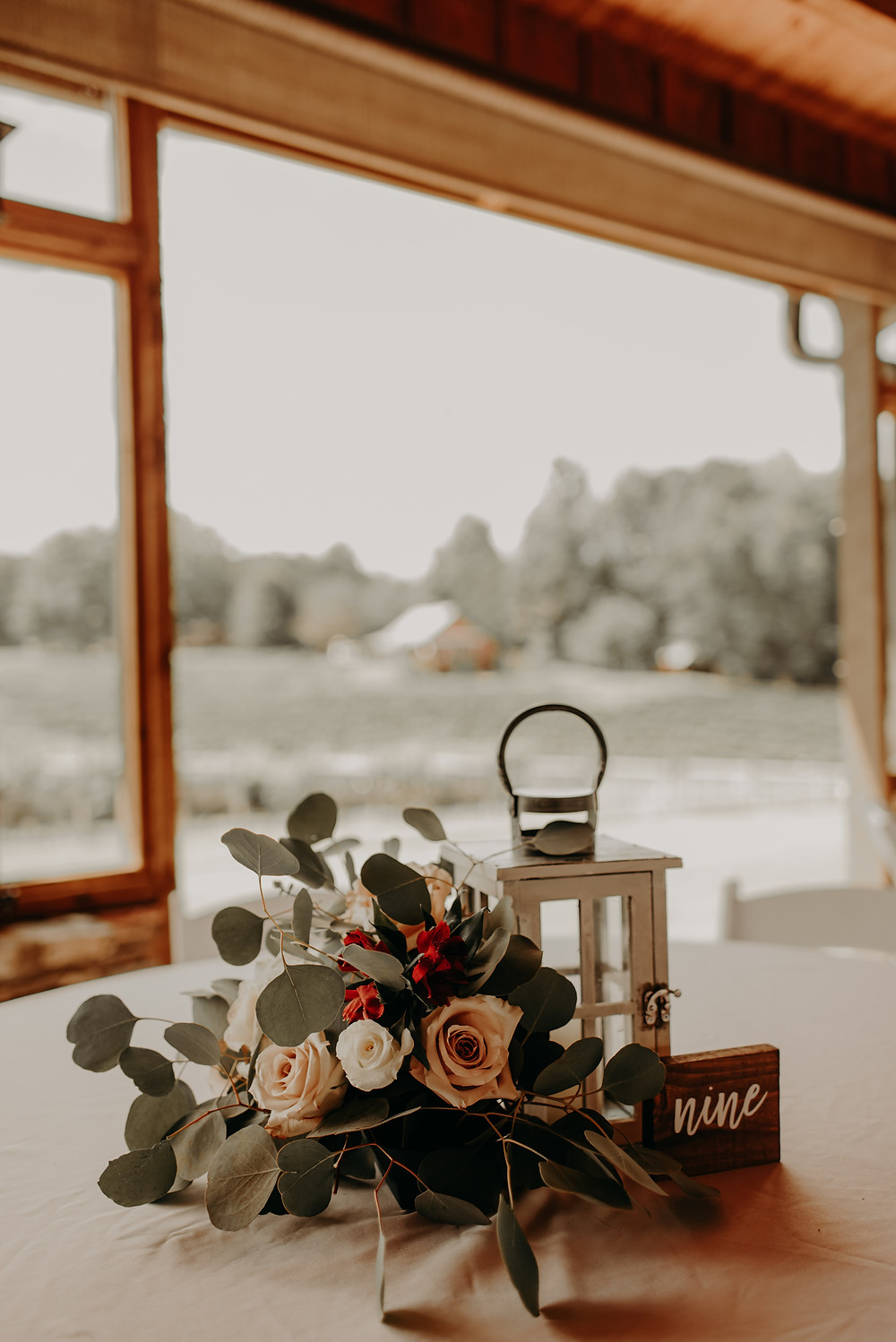 rustic wedding decor in a vineyard