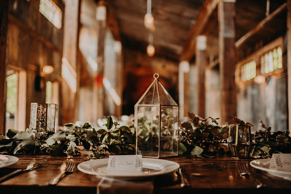 Wedding reception tablescape at Cherry Hollow Farm, GA