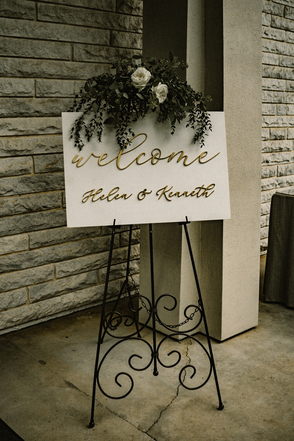 welcome sign in a wedding reception