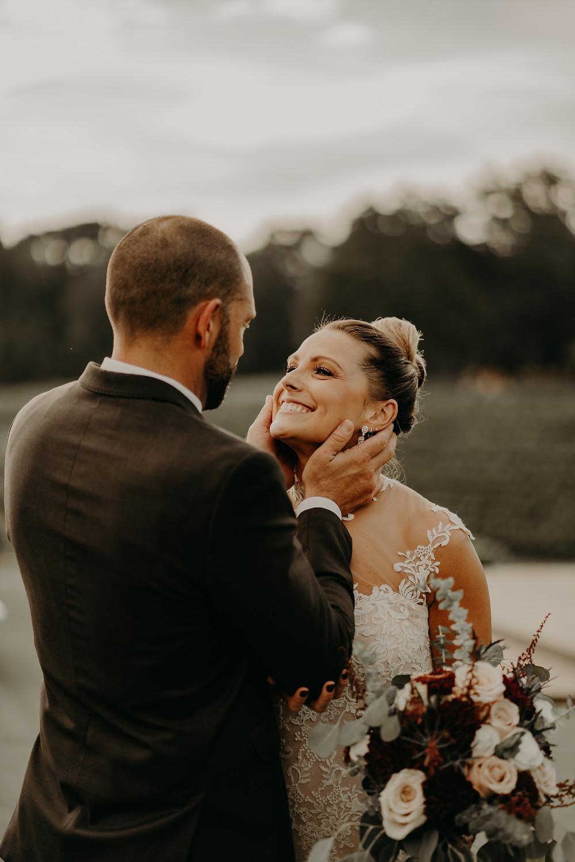 rustic vineyard wedding couple's portraits