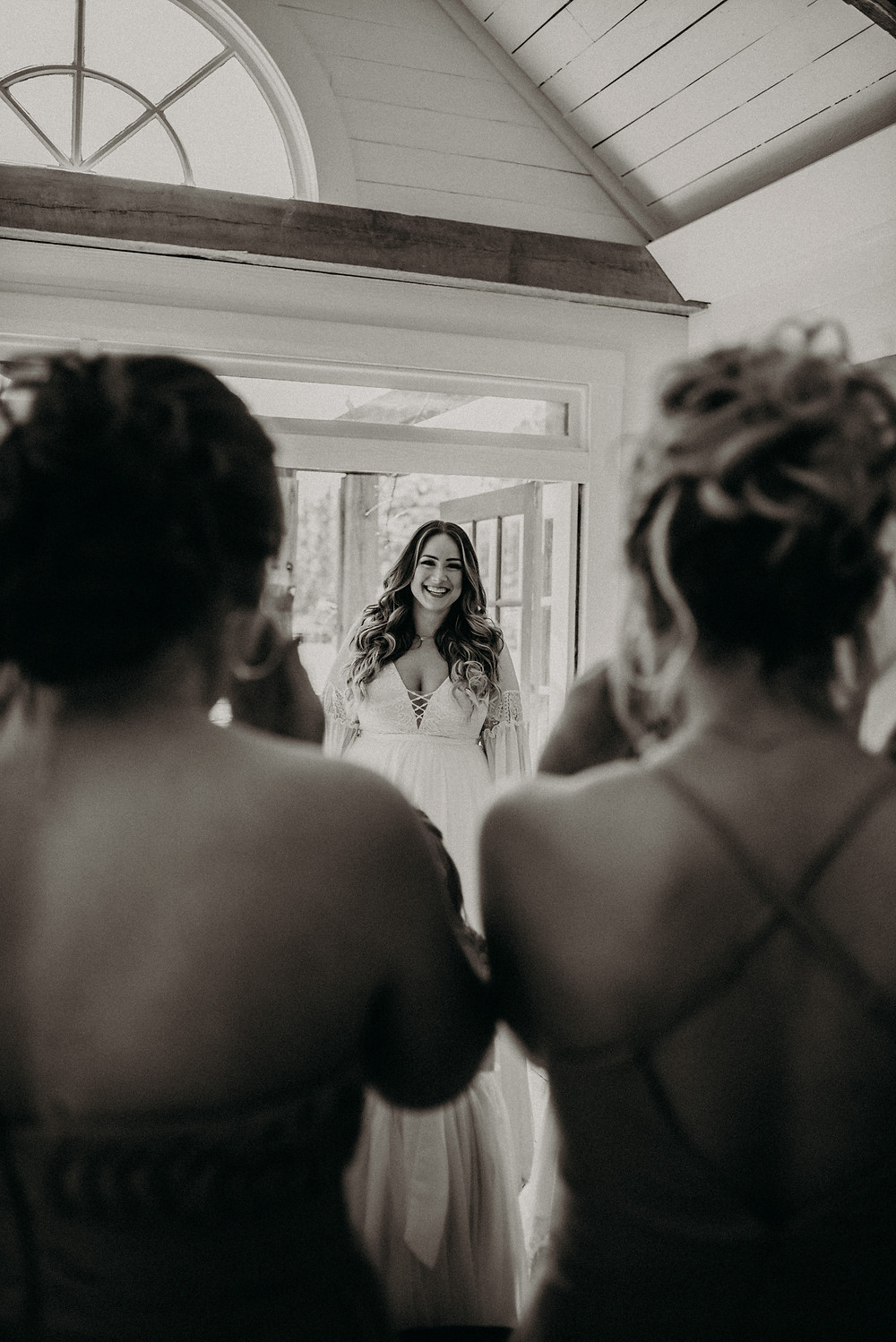 Bride first look with her bridesmaids