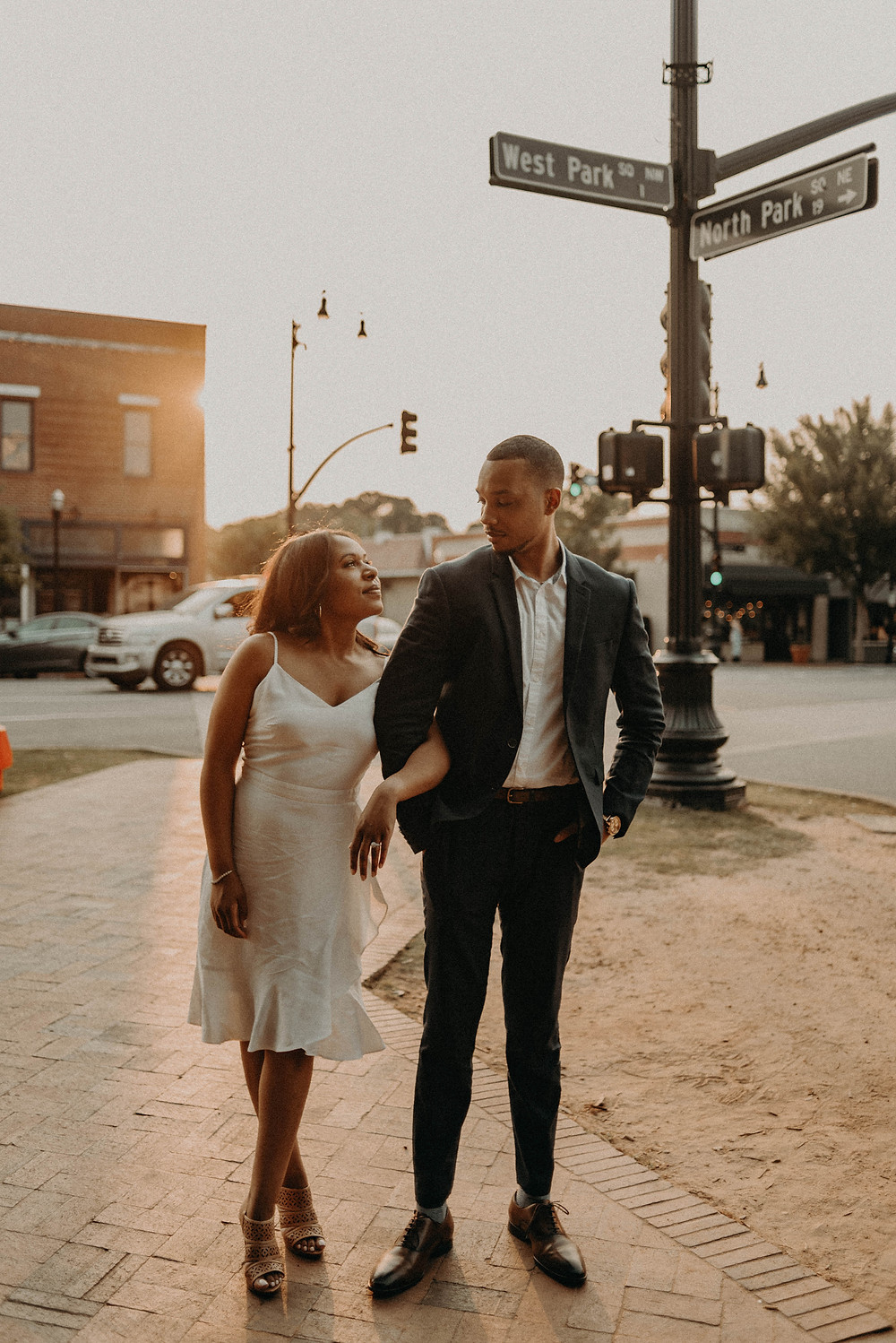 Engagement session in Marietta Square. Sunset