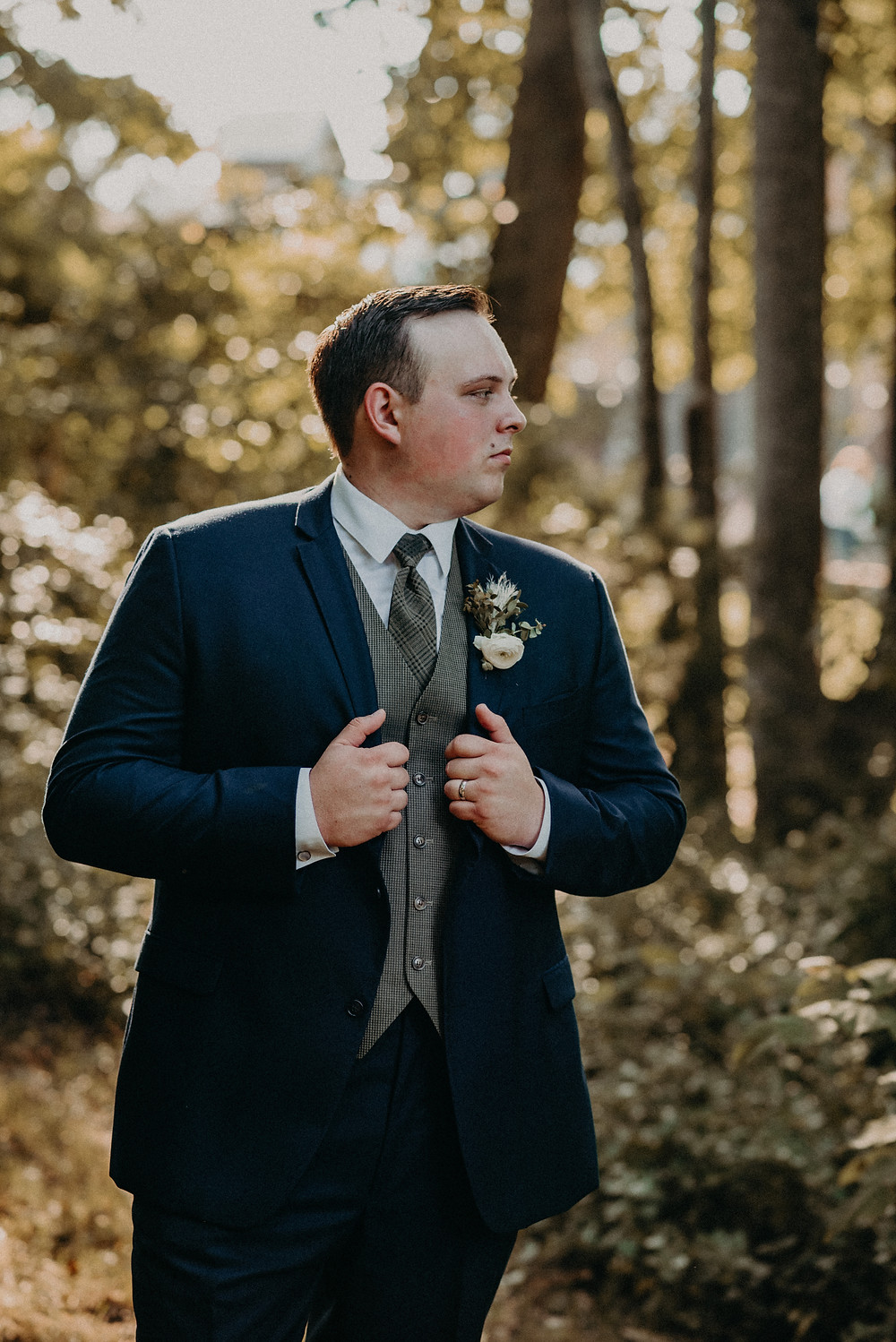 Groom ready for the wedding at Cherry Hollow Farm, GA