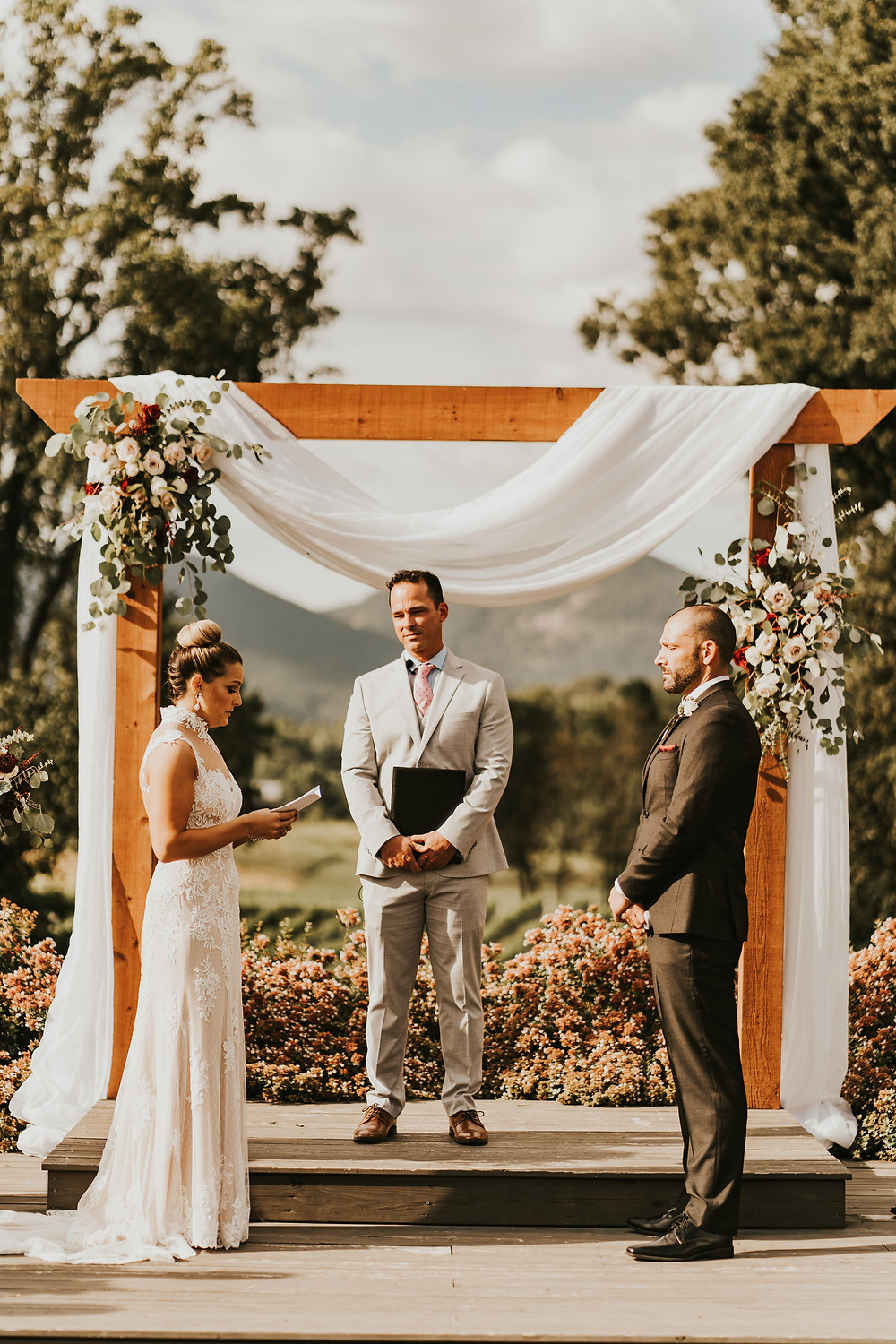 wedding ceremony in a vineyard