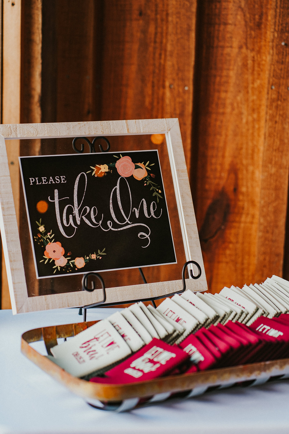 rustic wedding reception in a vineyard decor details, wedding favors