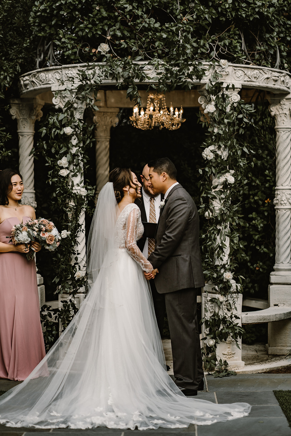 asian couple getting married in a garden