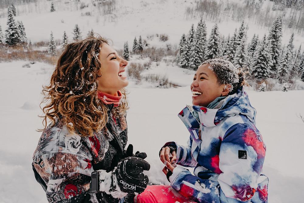 lesbian couple proposal in colorado snow
