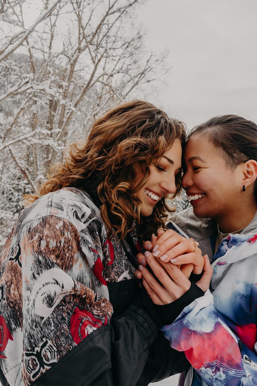 lgbtqi+ surprise engagement session snow