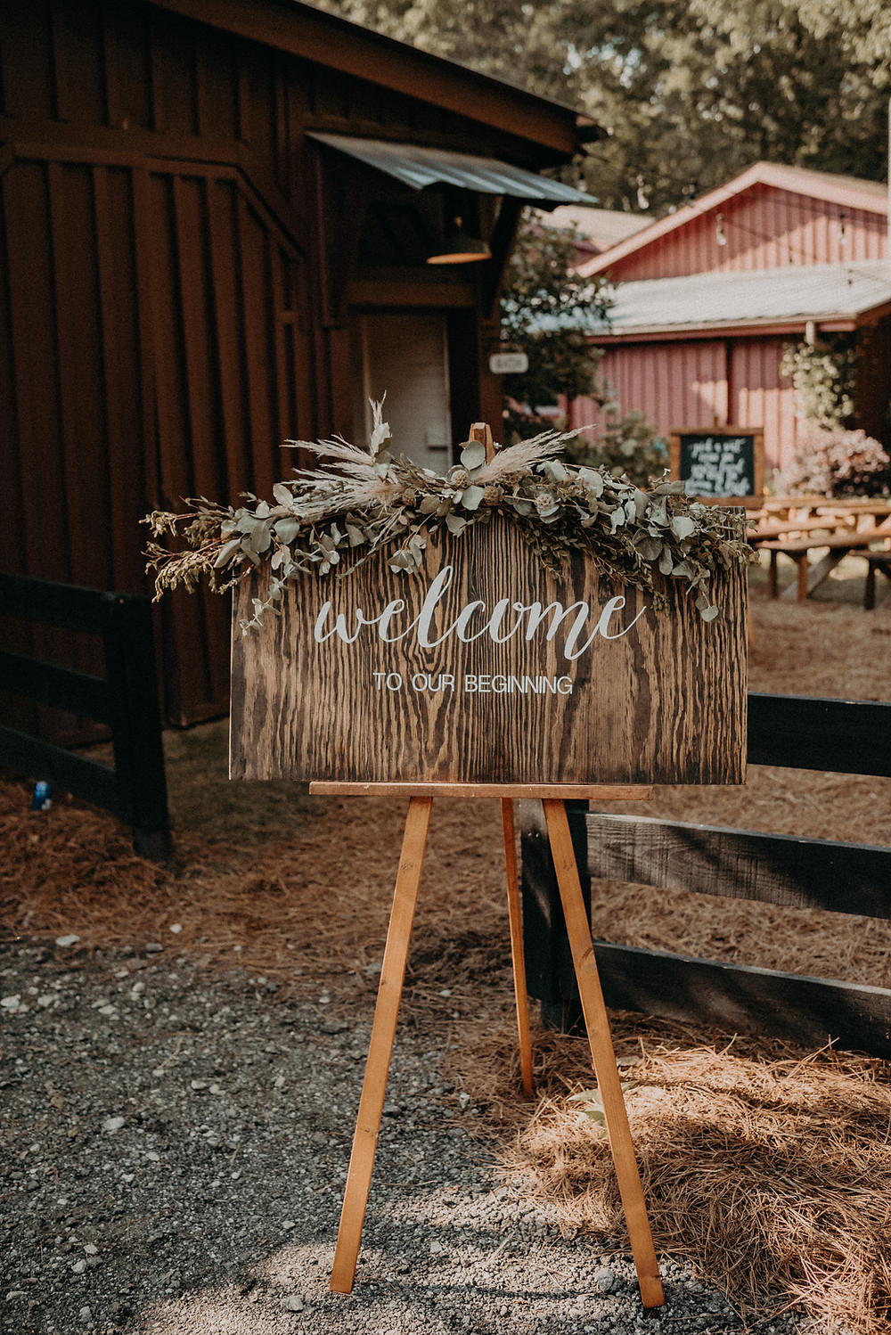 Welcome sign at wedding ceremony. Cherry Hollow Farm, GA