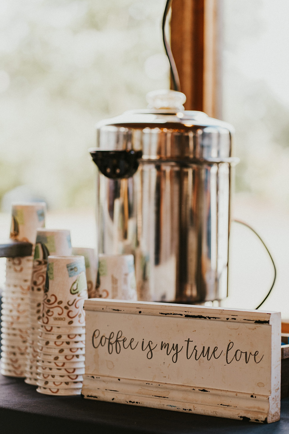 wedding reception decor details, coffee station